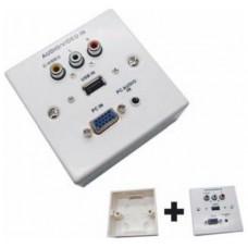 REGLETA DE PARED CONEXIONES VGA + JACK3.5 + USB2.0 +