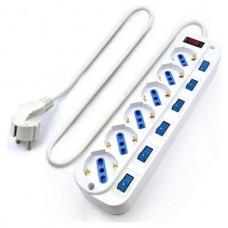 EWENT EW3932-5m Regleta 6 Tomas / 6 interruptor 5m
